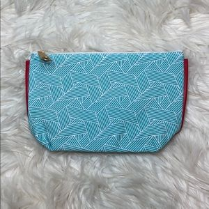 Clarins Turquoise Red White Geo Zip Cosmetic Case